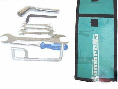 Lambretta Hand Tool Kit 7 Piece & Green Woven Pouch Jack Spanners Etc. AUD