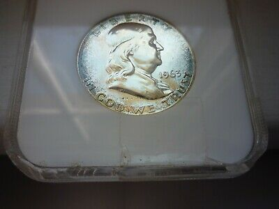 1963(Ngc)(Proof 66)Franklin Half Dollar - Silver - A  Beauty!!! Toning++++!
