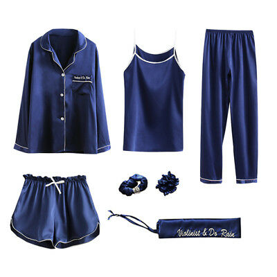 7Pcs Womens Silky Satin Pajama Sets Soft Pyjamas Loungewear Sleepwear Nightwear