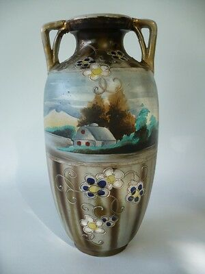 Antique Oriental Asian Japanese Nippon Mantel Vase Rural Scene