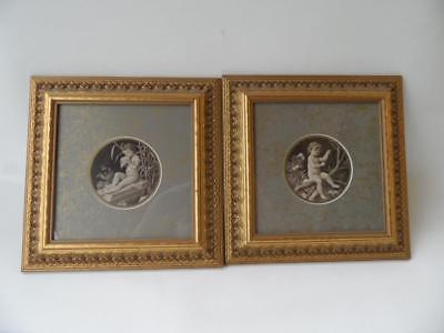 2 X Antique Reproduction Ornate Gold Wooden Framed Victorian Children Prints