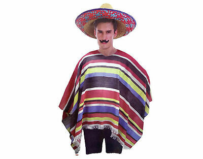 Mexican Poncho Spanish Costume Wild West Cowboy Party Bandit Fiesta Multi New