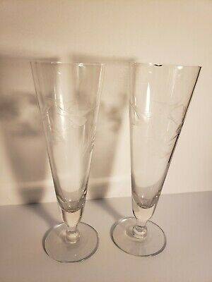 Tall wine glasses With Etched Birds