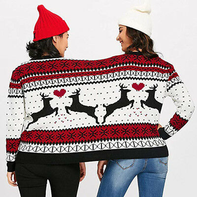 Two Person Combine Ugly Sweater Couples Novelty Christmas Blouse Top Shirt AU