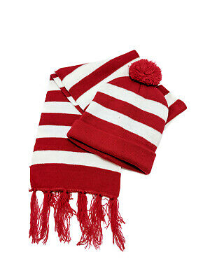 Red White Stripe Beanie Scarf Sydney Swans Hat Costume Wheres Wally Waldo Party