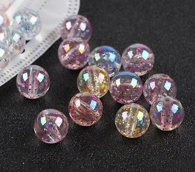 100X Acrylic Beads Crystal Round Glitter Sequin Transparent Jewelry Accessories