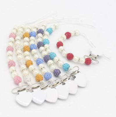 NEW Baby Crystal beads Pacifier Clips Holder Soother Baby Pacifier chain Toys