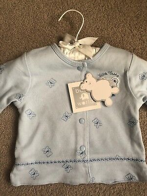 Blue 000 Baby Button Jacket With Teddy Bear Design, Brand New With Tags