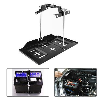 Universal Metal Car Battery Tray Adjustable Hold Down Clamp Kit Set 34.2x20cm AU