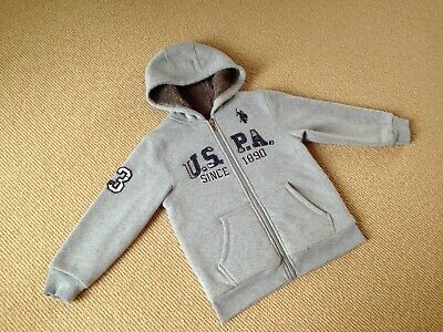 U.S. Polo Assn BOYS HOODED JACKET Size 5 6 Sherpa Lining