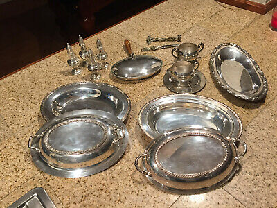 Antique Sterling Silver Salt & Pepper Shakers, Silver Covered Trays, Silver Cups