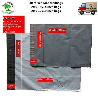 40 x Mixed Size Grey Poly/Plastic Mailing/Postal/Postage Bags Strong Self Seal