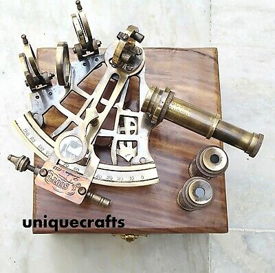 Antique  Design Brass Sextant W/ Wooden Box Collectible Instrument Gift.
