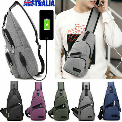Mens Sling Bag+USB Charging Anti-Theft Chest Pack Crossbody Travel Shoulder Bags