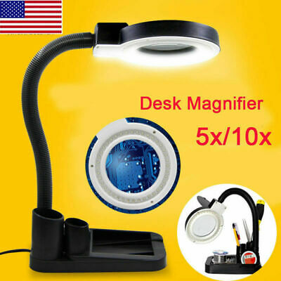 Black Magnifying Crafts Glass Desk Lamp With 5X 10X Magnifier With 40 LED Light
