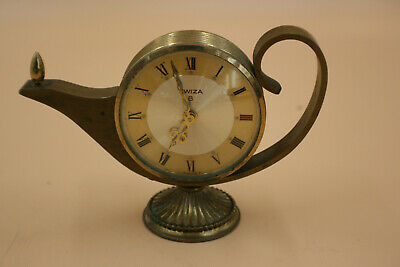 Vintage Swiza 8 Day Genie Lamp Alarm Clock - Swiss Made - Working