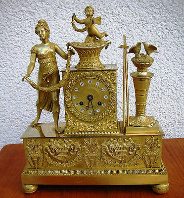 Superb French Gilt Bronze Clock 1820 Goddess of Harvest Cupido Flowers Empire