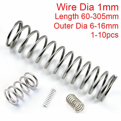 1mm Wire Compression Spring 60-305mm Long 304 Stainless Steel Pressure Springs