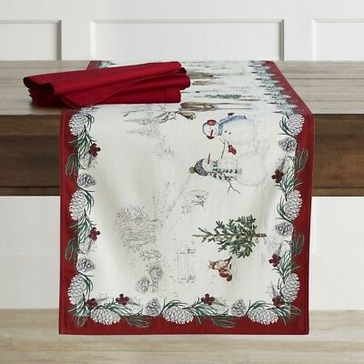 WILLIAMS SONOMA Table Runner 16 x 108 Christmas Holiday Snowman $85 NWTS