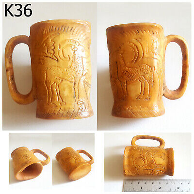 Historic Ancient Bactrian Carved Ram Bovine Bone Cup #K36