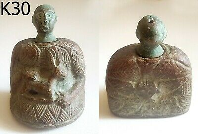 Ancient Bactrian Majestic Emperor King BRONZE Idol Statue #K30