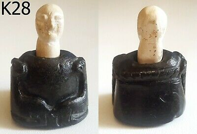 Ancient Bactrian Majestic Worship King Carved Stone Idol Decorated Statue #K28