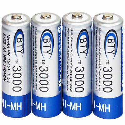 4 pcs AA 2A Rechargeable Battery Batteries 3000mAh 1.2V BTY Bulk NI-MH