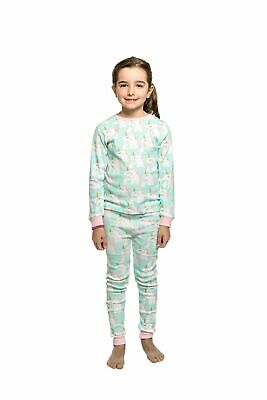 Girls PJS Size 3-7 Winter 2pc Long Set Pyjamas Mint Unicorn Print (1911)