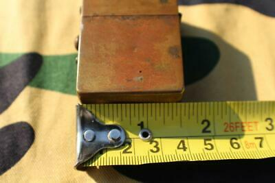 WWI Era Brass Wax Match Tin Antique Vintage Unique Unusual
