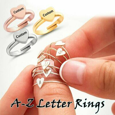 Personalized Custom Stainless Steel 26 Letters A-Z Adjustable Rings Heart Gift