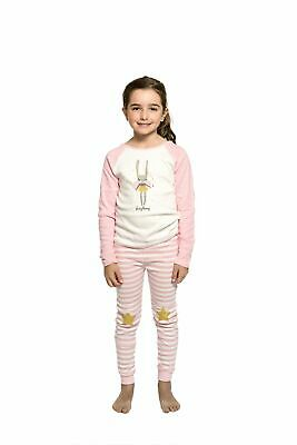 Girls PJS Size 3-7 Winter 2pc Long Set Pyjamas White Pink Fairy Bunny (1912)