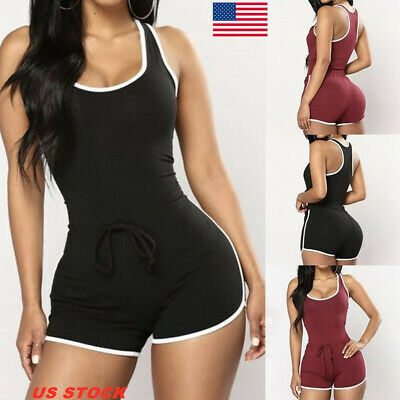 Women Casual Sleeveless Bodycon Romper Jumpsuit Club Tights Bodysuit Short Pants