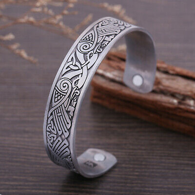 Celtic Knot Magnetic Bracelet Odin's Raven Crow Viking Cuff Bangle for Men