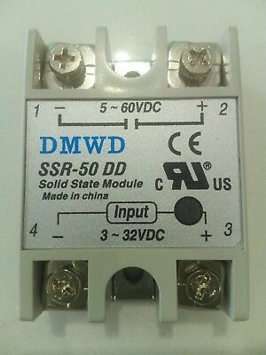 UK stocked Solid state relay 50amp 3-32 VDC to 5-60 VDC DC SSR-50 Low voltage DC