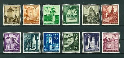 Germany WWII Occupation in Poland 1940 Buildings full set of stamps. Mint.