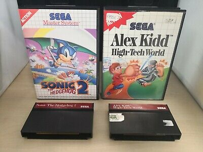 2 Sega Master System Games Sonic The Hedgehog 2 & Alex Kidd High-Tech World #5A