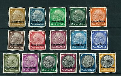 Germany 1940 WWII Occupation in Luxembourg Overprinted set of stamps. Mint.