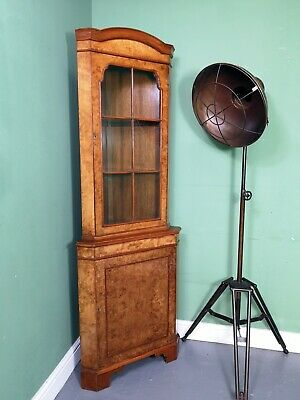 An Antique Style Burr Walnut Corner Cabinet Cupboard ~Delivery Available~