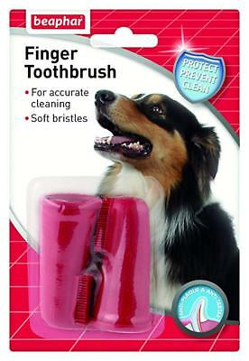 Beaphar Finger Toothbrush Twin Pack Dog Cat Plaque Tartar Cleans Aids Protect
