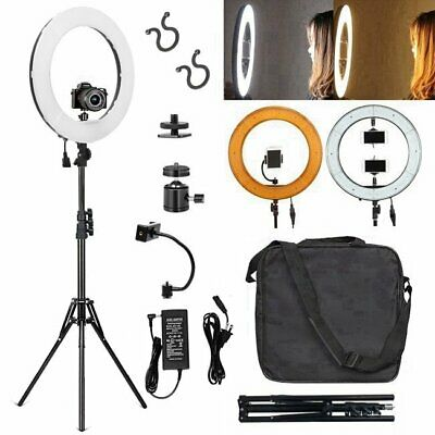 "Studio Photo Video 50W 19"" 48cm Bi-Color LED Dimmable Ring Light with 1.8M Stand"