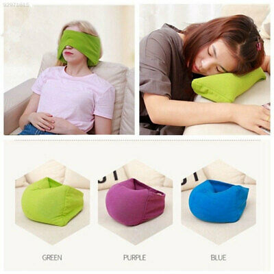 83D6 Green Office Naps Head Support Home Take Rest Airplane Pillow Eye Mask