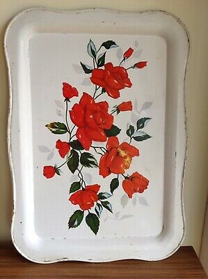 Original Vintage Retro Collectable Mid Century Metal Serving Tray Red Rose