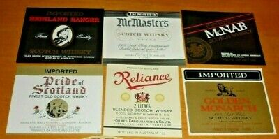 Collectable whiskey labels - Set of 6 assorted whiskey metric labels MINT