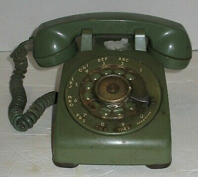 Vtg Avocado Green Bell System Western Electric Rotary Desk Phone Prop Display