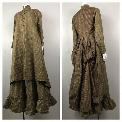 Antique Dress Set / Late 1800s 1890s Cotton Polka Dot Bustle Jacket & Skirt / XS