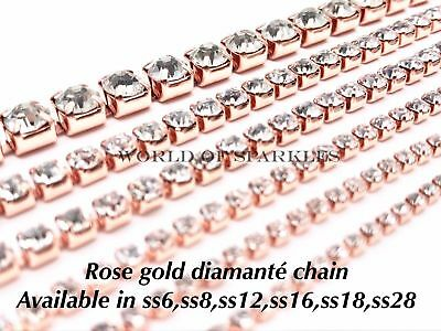 High Quality Diamante Rhinestone Crystal Glass Rose Gold Chain Lace for Sewing