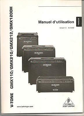 Manual Behringer V-TONE GMX110, GMX210, GMX212,  GMX 1200H guitar amplifier 2004