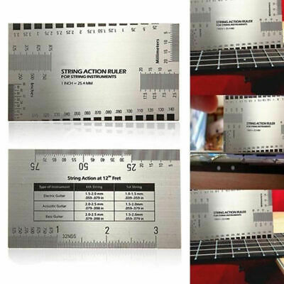 Guitar Bass String Action Ruler Gauge Guide Measuring Luthier Stainless Steel
