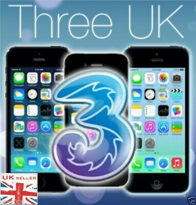 THREE 3 HUTCHISON UK UNLOCKING SERVICE FOR IPHONE 4,4s,5,5s,5se,6,6s,6sp,7,7p,8