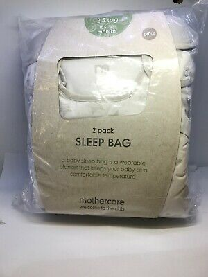 CL18# Mothercare Grey Star 2.5 Tog Sleep Bag 2 Pack - 18-36 Months